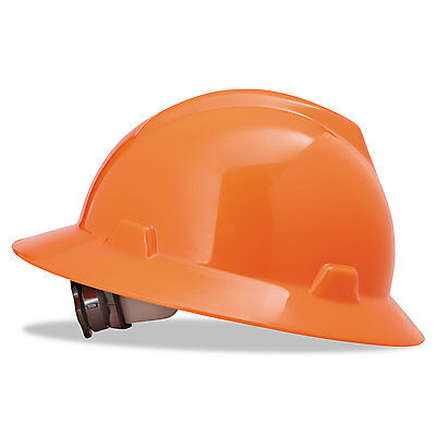 Msa V-Gard Hard Hats Ratchet Suspension Size 6 1/2 - 8 High-Viz Orange 10021292
