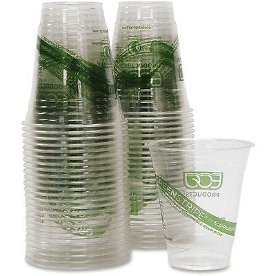 Eco-Products Cold Cup Eco Friendly 12oz 500/CT Clear/GreenStripe EPCC12GSCT