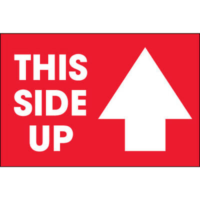 """Tape Logic Labels """"This Side Up"""" Arrow 2"""" x 3"""" Red/White 500/Roll DL1307"""