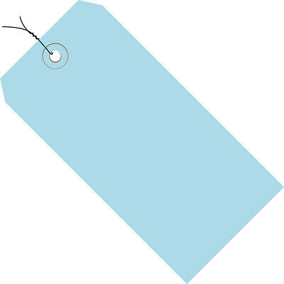 """Box Partners Shipping Tags Pre-Wired 13 Pt. 4 3/4"""" x 2 3/8"""" Light Blue 1000/Case"""
