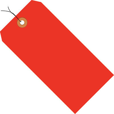 """Box Partners Shipping Tags Pre-Wired 13 Pt. 3 3/4"""" x 1 7/8"""" Fluorescent Red 1000"""
