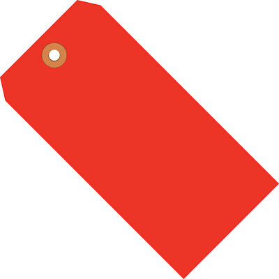 """Box Partners Shipping Tags 13 Pt. 3 3/4"""" x 1 7/8"""" Fluorescent Red 1000/Case"""