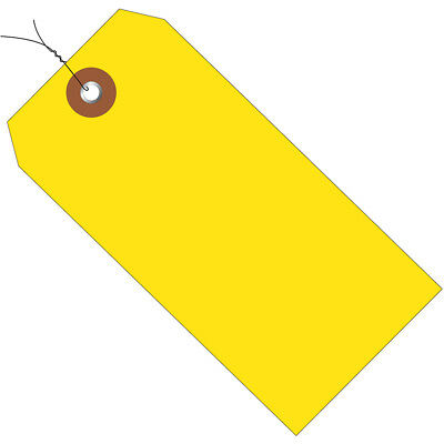 "Box Partners Plastic Shipping Tags Pre-Wired 4 3/4"" x 2 3/8"" Yellow 100/Case"