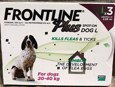 Frontline Plus For LARGE DOGS 45-88 lbs/20-40kg~ 3 Month Supply, New, US Shipper