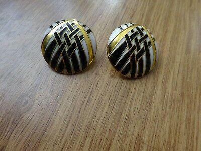 Lovely Vintage Enamel Pierced Earrings