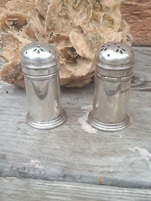 1918 Walker & Hall Solid Silver Salt Pepper Shakers Birmingham Hallmarks