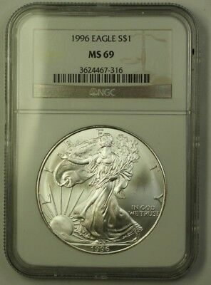 1996 US American Silver Eagle ASE $1 Coin 1 Ozt of Pure .999 NGC MS-69 GEM BU