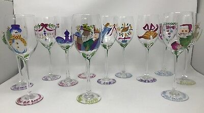 Block Basics SONGS OF THE SEASON Wine Glass/Goblet Set of 12 Hand Painted
