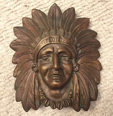 Tote INDIAN CHIEF FACE Heavy Metal Bronze ? Vintage ? Antique ?