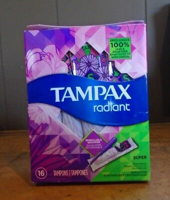 Tampax Radiant Plastic Super Absorbency Tampons 16 ct Unscented