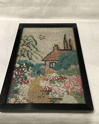 Small Victorian Beadwork Picture- All Beads