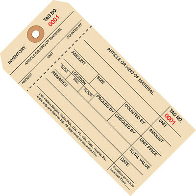 """Box Partners Inventory Tags 1 Part Stub Style #8 (1000-1999) 6 1/4"""" x 3 1/8"""""""
