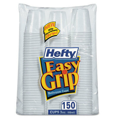 Hefty Easy Grip Disposable Plastic Bathroom Cups 3oz White 150/Pack C20315