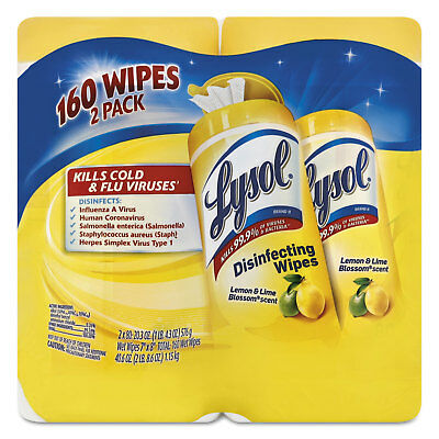 Lysol Disinfecting Wipes Lemon/Lime Blossom 7 x 8 80/Canister 2/Pack 3 Pk/Ctn
