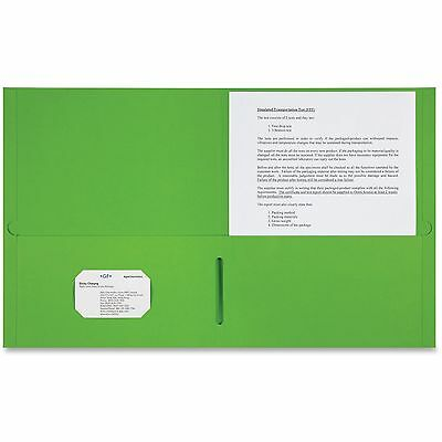 Sparco 2-Pocket Portfolio 25/BX Apple Green 78552
