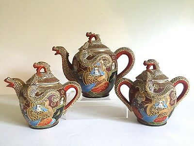 Vtg Mid Century Satsuma Japan Immortals Porcelain Moriage 6Pc Tea Service Set