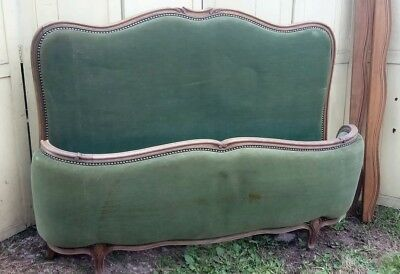 Antique French double size velvet upholstered corbeille bed