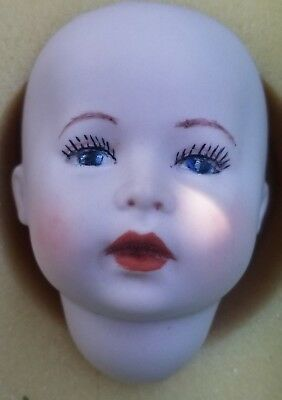 """One Bisque Porcelain Antique Repro Seeley DOLL HEAD 3"""" signed & dated 1982 NOS"""