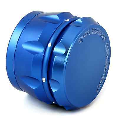 Chromium Crusher Drum 2.5 Inch 4 Piece Tobacco Spice Herb Grinder - Matelic Blue