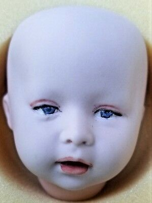 """One Bisque Porcelain Antique Repro Seeley 1976 DOLL HEAD 3"""" int & dated 1987 NOS"""