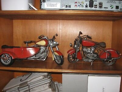 Set of two vintage, hand made, metal motorcycle collectibles