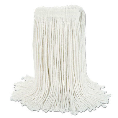 "Boardwalk Banded Rayon Cut-End Mop Heads White 24 oz 1 1/4"" Headband 12/Carton"