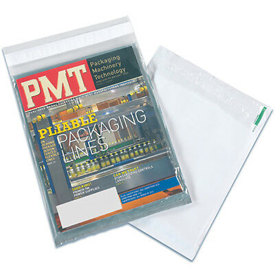 """Box Partners Clear View Poly Mailers 9"""" x 12"""" Clear/White 100/Case CV912100PK"""