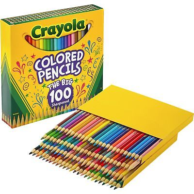 Crayola Long Barrel Colored Woodcase Pencils 3.3 mm 100 Assorted Colors/Set