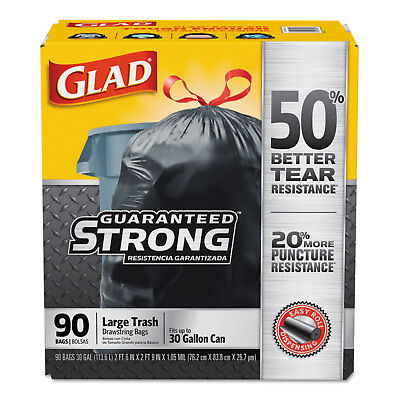 Glad Drawstring Large Trash Bags 30 x 33 30gal 1.05mil Black 90/Carton 78952