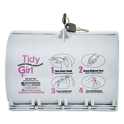 Tidy Girl Plastic Feminine Hygiene Disposal Bag Dispenser Gray TGUDPV2