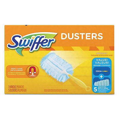 "Swiffer Dusters Starter Kit Dust Lock Fiber 6"" Handle Blue/Yellow 11804BX"