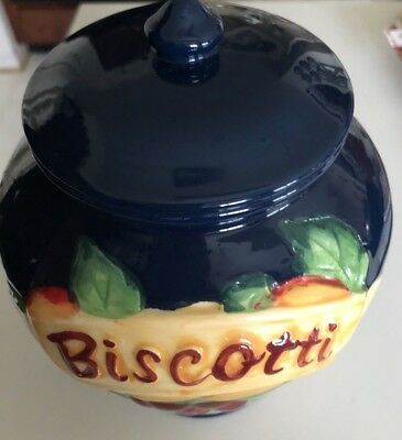 Hand Painted Nonni's BISCOTTI Cobalt Blue Cookie Jar Tuscan Fruit Grapes, w/Lid