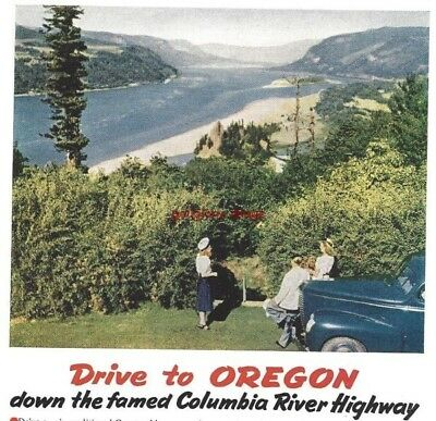 1940 Oregon Vacation Vintage Print Ad Majestic Beauty Columbia River Highway s