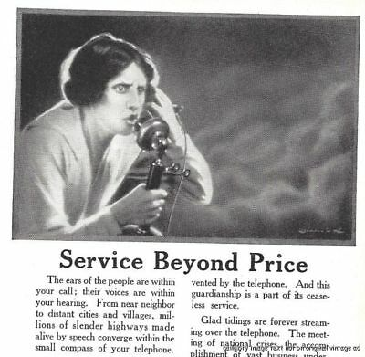 1921 Bell System American Telephone  2 Vintage Print Ads Service Beyond Price s