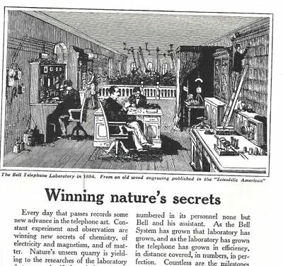 1925 Bell Telephone System Vintage Print Ad Telephone Laboratory 1884 Pictured s