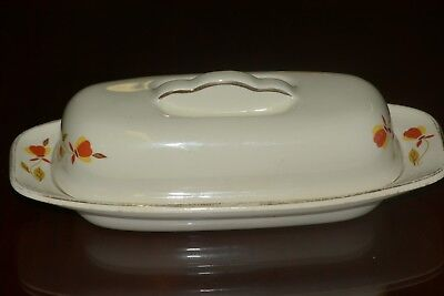 Hall China Jewel Tea AUTUMN LEAF Ruffled Grip 1/4 Pound Covered Butter Dish
