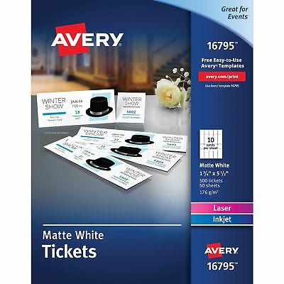 "Avery Tickets w/Stubs Printable Uncoated 1-3/4""x5-1/2"" 500/PK WE 16795"