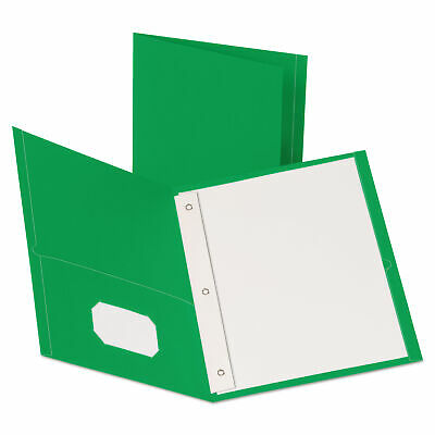 """Oxford Leatherette Two Pocket Portfolio with Fasteners, 8 1/2"""" x 11"""", Green, 10"""