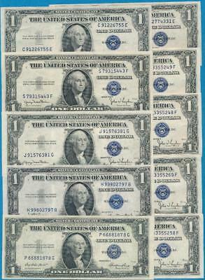 10-$1.00  Mixed 1935 Series Blue Seal Silver Certificates Choice Au Dealers Lot