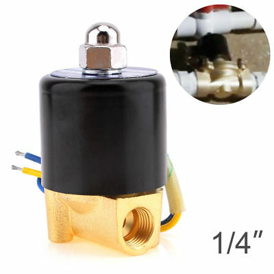 """1/4"""" DC 12V Brass Normally Closed Electric Solenoid Valve NPT Gas Water Air N/C"""
