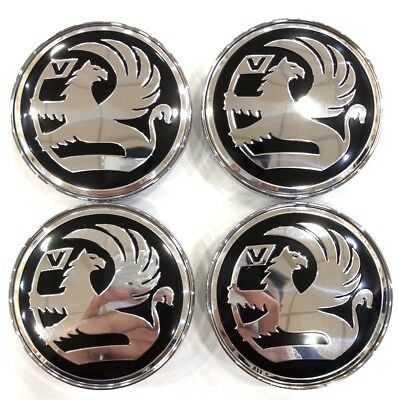 4x 60mm Black & Chrome Vauxhall Alloy Wheel Centre Caps - ADAM CORSA ASTRA VXR