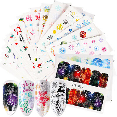 30 Sheets Winter Christmas Nail Art Water Transfer Stickers Decals Cover Colors