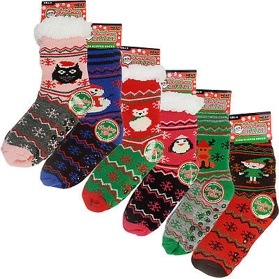 Boy Girls Ladies Thick Winter Thermal Sherpa Fleece Christmas Slipper Socks Grip