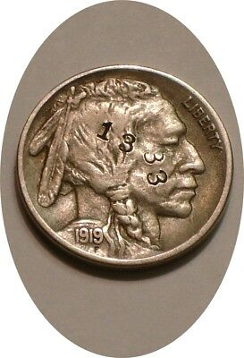 1919 S Buffalo Nickel FULL DETAIL Counterstamped 1938  I. H. B