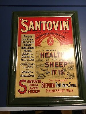 Vintage Santovin Sheep Dip Tin Sign Graphic Unusual Rare