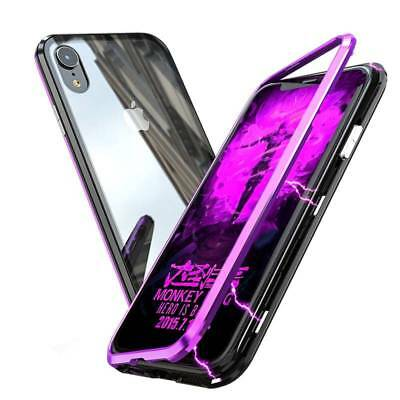Luxury Magnetic Adsorption Metal Case For iPhone XS MAX XR Tempered Glass Cover
