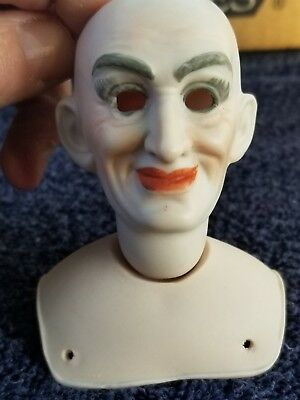 """Bisque Porcelain Antique Repro WITCH DOLL HEAD with PLATE 2.5"""" SEELEY 1976"""