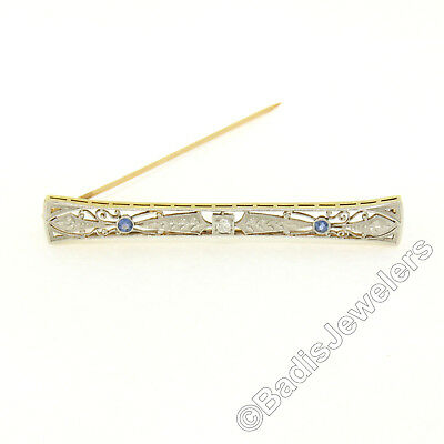 Antique 14k Gold Platinum .32ctw Diamond Sapphire Milgrain Etched Bar Pin Brooch
