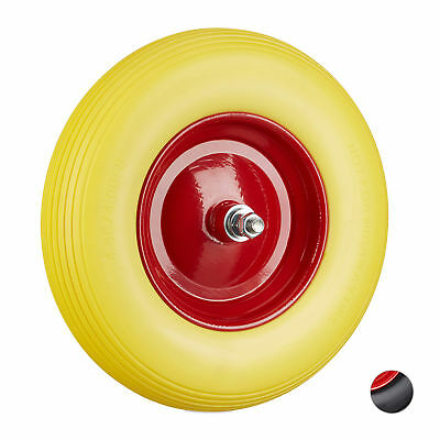 Solid PU Rubber Wheelbarrow Wheel, Tyre with Axle, Spare Tire with Steel Rim