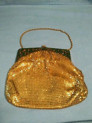 "Vintage Whiting & Davis 7"" x 5 1/2"" Gold Mesh Pouch Purse with Chain Strap"